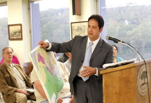 Naugatuck resident Chester Cornacchia addresses the Naugatuck Zoning Commission during a hearing at Town Hall Wednesday night on a proposed zone change. –RA ARCHIVE