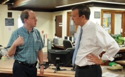 Prospect Library Director John Wiehn, left, talks with U.S. Sen. Chris Murphy (D-Conn.) Wednesday afternoon during Murphy's tour of Prospect. Murphy is planning to visit every town in the state, a tour that started with Prospect. –LUKE MARSHALL