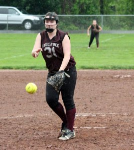 Naugatuck's Nina Kosciuszek fires a pitch Tuesday afternoon during the first round of the Class LL softball tournament against Hall at Breen Field in Naugatuck. Kosciuszek pitched a three-hitter and struck out 10 batters as the Greyhounds won, 4-1. –ELIO GUGLIOTTI