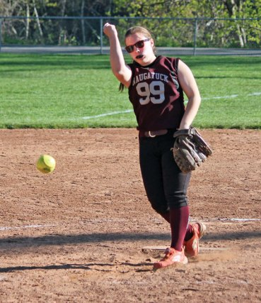 Naugatuck's Jenna Miller fires a pitch May 1 versus Derby at Breen Field in Naugatuck. The Greyhounds won, 11-0. –ELIO GUGLIOTTI