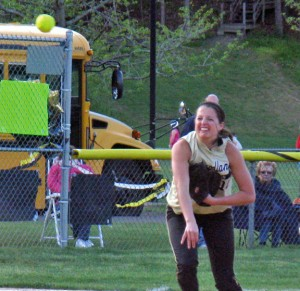Woodland's Brianna Pacileo throws to first for an out Monday night versus Ansonia at the Beacon Falls Recreation Complex. The Hawks won, 4-1, on senior night. –KYLE BRENNAN