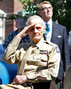 World War II Air Force veteran warrant officer Ernest Stewart of Shelton salutes the flag during a ceremony in front of Naugatuck Town Hall. Stewart served as grand marshal the Naugatuck Memorial Day parade on Monday. -ELIO GUGLIOTTI