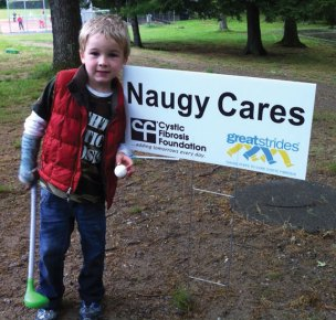 Naugatuck High School students contributed towards the Great Strides campaign for the third consecutive year. The Great Strides Walk benefits the Cystic Fibrosis Foundation. Cystic Fibrosis is life-threatening disease that primarily affects the lungs. This year the Naugy Cares team raised over $1,000. Isaac Brenneman, pictured, has CF and will benefit from research to find a cure. To donate, visit www.cff.org/Great_Strides and search 'Naugy Cares' under find a team. -CONTRIBUTED