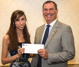 Naugatuck Valley Savings and Loan President and CEO Bill Calderara, right, awards Maria Teixeira of Naugatuck the Donald G. Brubaker Memorial Scholarship recently. Teixeira is a graduate of Holy Cross High School in Waterbury. The $1,000 scholarship was established in honor of former Naugatuck Valley Chairman of the Board Donald Brubaker and is open to Naugatuck High School seniors, residents of Naugatuck attending area high schools, customers or children of customers of the bank regardless of their residency or the school they attend, who plan to continue their education. Teixeira will be continuing her education at LaSalle University in Pennsylvania. -CONTRIBUTED