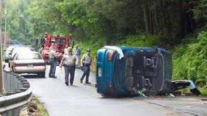 State police at the scene of an accident June 27 on Beacon Valley Road in Beacon Falls. Robert Baker, 66 of Waterbury, was found dead after the accident. –RA ARCHIVE