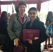 Long River Middle School student Antonio D'Amelio, pictured below with Principal Jayne Lanphear, received the South Central Superintendent's Association Student Recognition Award at a recent luncheon. The award is presented to students to acknowledge the achievement and contributions they have made in their school communities. –CONTRIBUTED