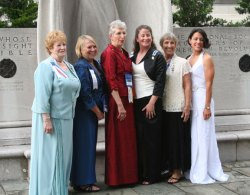 Seven members of the Trumbull-Porter Chapter DAR of Watertown attended the annual convention of the Daughters of the American Revolution, the 122nd Continental Congress held in Washington, D.C., recently including Regent Katie Gabrielson of Naugatuck, former Naugatuck resident Jennifer Gabrielson Amodeo of Waterbury and Daryl Masone of Naugatuck. The DAR Continental Congress is a time-honored tradition. National, state and chapter leaders from around the world meet at the DAR National Headquarters to report on the year's work, honor outstanding award recipients, plan future initiatives and reconnect with friends. Pictured from left, Trumbull-Porter Chapter DAR members Amodeo, Vice Regent Paula Vitetta of Watertown, Honorary Chapter Regent and Treasurer Carol Bauby of Harwinton, Gabrielson, Registrar Freda Carreiro of Oakville and Masone gather in DAR Constitution Hall. –CONTRIBUTED