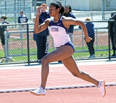 Jasmine Cribb, a former Greyhound and All-New England athlete, ended her college career on a high note by placing seventh at the Big East Championships in the high jump. -STEVE SLADE