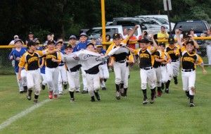 The Prospect Little League 9-and-10-year-old all-stars celebrate their second straight District 3 tournament championship last week. –CONTRIBUTED