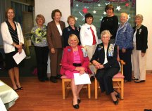 The Trumbull-Porter Chapter Daughters of the American Revolution recently installed new officers for a three-year term. Newly installed officers include Regent Katharine 'Katie' Gabrielson from Naugatuck. Pictured standing from left, State Vice Regent April Staley, Librarian Beth Johnsen, Historian Marylee Sorman, Registrar Freda Carreiro, Corresponding Secretary Bonnie Rutherford, Chaplain Rev. Jody Gurerra, 2nd Vice Regent Pat Rockwell, and 1st Vice Regent and Recording Secretary Paula Vitetta. Seated, Honorary Chapter Regent & Treasurer Carol Bauby and Gabrielson. –CONTRIBUTED