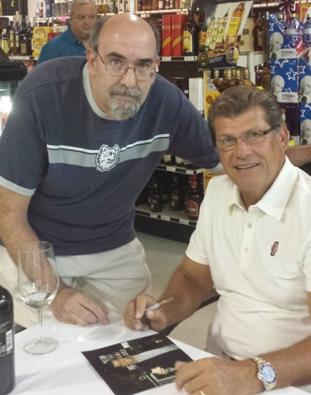 Chris Monaco of Naugatuck recently met University of Connecticut womens basketball coach Geno Auriemma in Wolcott. Monaco and Auriemma both grew up in Norristown, Pa.-CONTRIBUTED