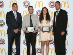 Jenna Pannone and Justin Fortin from Long River Middle School in Prospect were recognized as the state's top scholar leaders June 3 at the 2013 Connecticut Association of Schools Scholar Leader Banquet. The award is presented to one male and one female student in each middle school whose record of academic achievement and service have been truly exemplary, whose personal standards and accomplishments are a model for others and who possess high levels of integrity, self discipline, honesty and courage. Pictured with the students are McDonald's owner/operator John Haskos, left, and East Hartford Superintendent Schools Nathan Quesnel. –CONTRIBUTED