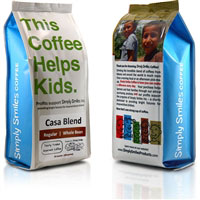 Casa Blend is one of several coffees sold under Simply Smiles Coffee brand. –SIMPLY SMILES
