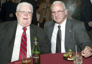 The late Ed Mariano, left, and Bob Burns are pictured at the Continental Room in Naugatuck for the Naugatuck Hall of Fame dinner in 2006. Mariano, a former educator, star athlete and coach in Naugatuck, passed away Sunday at the age of 88. –RA ARCHIVE