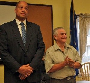 Beacon Falls former Selectman Dominick Sorrentino, right, a Democrat, addresses a gathering Saturday at the Beacon Falls Senior Center after being announced as the selectman candidate on the Republican ticket. Republican First Selectman Gerard Smith, left, announced that he will remain in the race for first selectman. –ELIO GUGLIOTTI