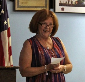 Former burgess candidate Peg Sheehy addresses the Naugatuck Democratic Town Committee in July. Sheehy dropped out of the race this week due to the health reasons. –FILE PHOTO