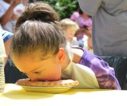 The Whittemore Library in Naugatuck held its first ever blueberry pie eating contest Aug. 16. –PHOTOS BY ELIO GUGLIOTTI