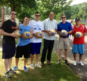 From left, Andrew Kaplan of Wing It On!, Joe Bottacari of Naugatuck Savings Bank, Eric Turmel of Employer's Reference Source, Beacon Falls First Selectman Gerald Smith, Ryan Matthews, founder of The Susie Foundation, and Paul Martelli of Frankie's Family Restaurant at the first Susie's Kickball Classic Saturday at the Pent Road Recreation Complex in Beacon Falls. –CONTRIBUTED