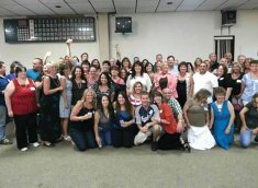 Former Hillside Middle School teachers Fred and Jeanne Scheithe hosted a 'no class' reunion for classes from the 1970s, 1980s, 1990s and 2000s at the Naugatuck Elks Lodge Aug. 17. Pictured, members of the Hillside classes of the 1980s come together for group photos. –CONTRIBUTED