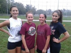 Naugatuck High seniors, from left, Ashley Witney, Stefani Barry, Kait Barry and Ana Castelao will captain the volleyball team this season. –CONTRIBUTED