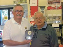 Naugatuck Council Knight Larry Hanlon, left, presents a wall plaque to Ed Taranovich of Ed's Do-It-Best Hardware in Naugatuck. The plaque is in recognition of Ed Taranovich and his wife, Lori's, many years of continuous support of Knights of Columbus fundraisers. –CONTRIBUTED