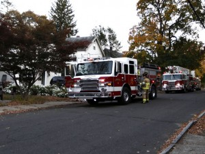 The Naugatuck Fire Department responds to 107 Walnut St. after a report of a fire inside the residence Monday evening. –RA ARCHIVE