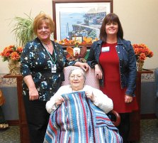 All About You Home Care Services in Naugatuck recently donated several lap blankets to Glendale Center to be distributed to their residents. Pictured, Alice Turley (holding the blanket, Glendale Center Admissions Director Patricia Birch, left, and Veronica Rinaldi from All About You Home Care Services. -CONTRIBUTED