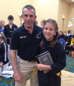Samantha Strell, of Prospect, won first place for creative breaking and power elbow at the USBA/WBA Hall of Fame Breaking Competition in Norwich Oct. 27. Strell is a student of Master Ralph Bergamo from Cheshire Martial Arts. –CONTRIBUTED