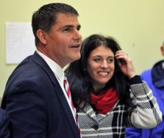 Naugatuck Mayor Robert Mezzo, a Democrat, and his wife, Eileen, watch as election results come in Nov. 5 at Democratic headquarters on Church Street. Mezzo was reelected for a third term in office. –FILE PHOTO
