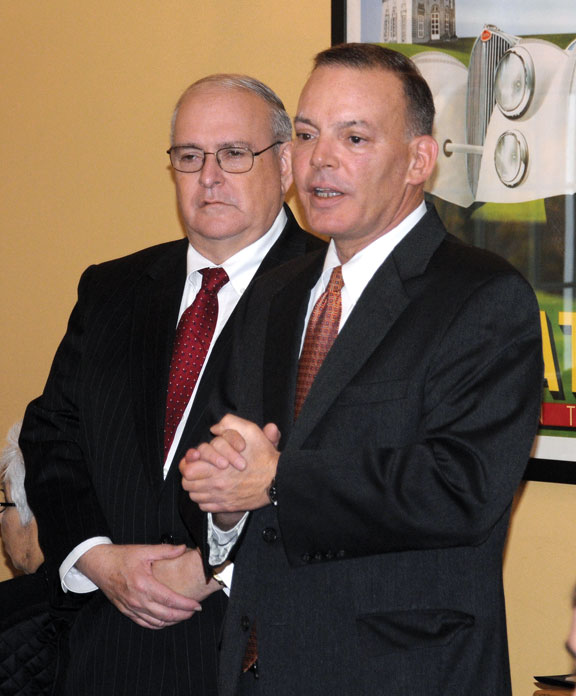 Naugatuck Elks Exalted Ruler James Desmarais Sr., left, is introduced by Kevin DelGobbo during the Franklin Johnson Jr. Citizenship Award Mayoral Breakfast Nov. 7 at Jesse Camille's Restaurant in Naugatuck. Desmarais, who coordinates the Elks' Senior Home Project, was this year's award winner. The award is given annually to a resident who carries on the legacy of character and community service exemplified by its namesake veteran and borough icon. The money raised from ticket sales at that breakfast went towards the Senior Home Project. –LUKE MARSHALL