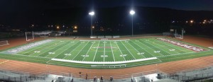 The lights shine down on the new Veterans Field turf Nov. 15 before the Greyhounds' game versus Kennedy. –KYLE BRENNAN