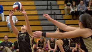Woodland's Samantha Lee (17) sets a ball against Foran High during the Class M championship at Berlin High in Berlin Nov. 16. Woodland won, 3-1, as Lee served out the last seven points to clinch the title. –RA ARCHIVE
