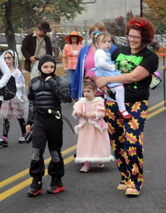 American Legion Post 17 and Naugatuck Fire Fighters Local #1219 hosted their annual Halloween Parade and Party Oct. 31. Children in costume marched up Old Firehouse Road to fire headquarters. At the firehouse the children were treated to snacks, drinks and a dance performance from the Nor'Easter All-stars Reflex from Waterbury. –LUKE MARSHALL