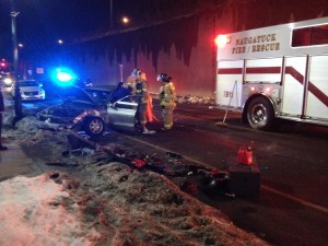 Naugatuck police and fire crews responded to the scene of an accident at 87 South Main St. about 7:15 p.m. Thursday. –RA ARCHIVE