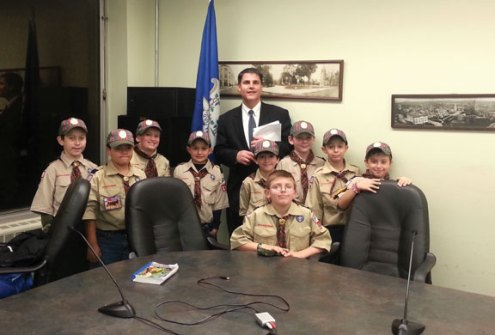 Webelos from Pack 115 in Naugatuck met with Naugatuck Mayor Robert Mezzo at Town Hall Nov. 11 as part of their efforts to earn their Citizens Award. -CONTRIBUTED