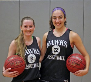Woodland girls basketball captions junior Becky Hale, left, and senior Andrea Piccolo will lead the Hawks on the hardwood this season. –ELIO GUGLIOTTI