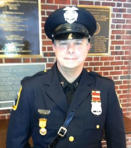Prospect Police Officer Erno Nandori received a medal for lifesaving from the Connecticut State Police during a ceremony Dec. 12. –CONTRIBUTED