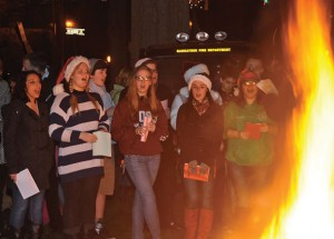 Naugatuck High School choir members sing Christmas carols during Naugatuck's 9th annual Holiday Kickoff last year on the Town Green. –FILE PHOTO