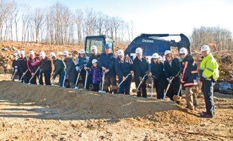 Officials from the Region 16 school district, which covers schools in Beacon Falls and Prospect, mark the start of construction for the new Prospect Elementary School Nov. 25 with a ground-breaking ceremony. –FILE PHOTO