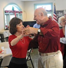 The Prospect Senior Center hosts ballroom dancing every first and third Monday on the month. On Dec. 16 the dancing was complimented with classic songs and Christmas songs performed by Vinnie Carr of West Hartford. –LUKE MARSHALL