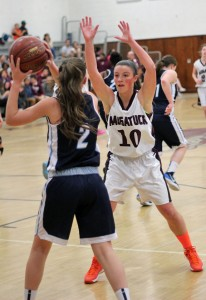 Naugatuck's Angie Piccirillo (10) has been the Greyhounds most consistent scorer this season. Piccirillo is one of several key Naugatuck players who may miss extended playing time due to injury as the Greyhounds are about to enter a key stretch of the season. –FILE PHOTO