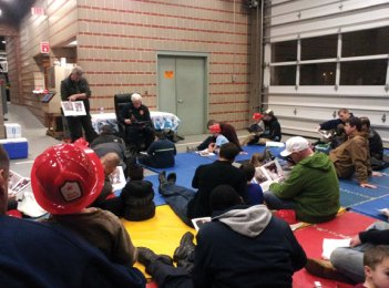 Dad's Nite at the Firehouse was held Dec. 4 at the Naugatuck fire headquarters on Maple Street. The event is for children from the Naugatuck Head Start program and the significant male in their lives. The children were given a goodie bag, fire hat and a disposable camera. The evening started with the children being read a story, a firefighter in full gear met with the children, then Sparky the Fire Dog led the children to the apparatus floor, where they were allowed to climb in the fire trucks. The event is sponsored by Firefighters Union Local 1219 with the proceeds from its Easter flower sale. –CONTRIBUTED