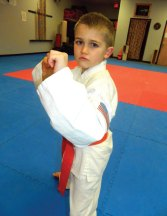 USA Martial Arts member Jonah Randis (pictured) won first place in the junior orange belt sparring division at the Cheezic Tang Soo Do Tournament Jan. 12 at Holy Cross High School in Waterbury. Christian Giordano finished second in the junior red belt sparring division. –CONTRIBUTED