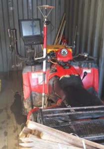 A red 2011 Polaris Sportsman Quad with an Ashtech Z GPS unit mounted on the front was among the items stolen from the construction site for the new Prospect Elementary School. –CONTRIBUTED