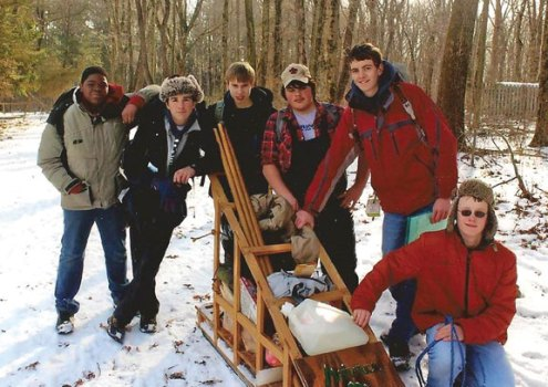 """Boy Scout Troop 102, of Naugatuck, recently participated in the Klondike Derby held at Camp Mattatuck in Plymouth, where the troop received a fourth-place trophy in the senior patrol division. The annual event mimics the Klondike gold rush, and is intended to test the scouts' outdoor skills, leadership and teamwork as they earn """"gold nuggets"""" at various stations throughout the woods. Pictured, from left, are Javon Brady, Jesse Bronko, Ethan Maxwell, Nick Hanks, Russ Andrew and CJ Werner. –CONTRIBUTED"""