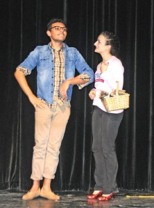Naugatuck High School students Preston Bogan, left, as the Scarecrow, and Alex Hernandez, as Dorothy, rehearse their lines from Wizard of Oz Feb. 4 at the high school. The drama clubs from the high school and Western Elementary School have team up to present the Wizard of Oz Feb. 21 and Feb 22 at Naugatuck High. –LUKE MARSHALL