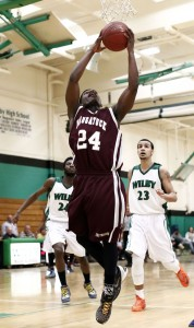 Heading into a rematch against Torrington Wednesday night, Maleek Brooks (24) and the Greyhounds are one win away from clinching a spot in the state tournament with three games to go. –RA ARCHIVE