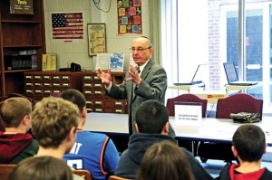 Holocaust survivor Endre Sarkany talks about his experiences during World War II to eighth-grade students at Long River Middle School in Prospect on Feb. 20. Sarkany was invited to speak by eighth grade history teacher Steve Ruhl who is teaching his students about the holocaust. –LUKE MARSHALL