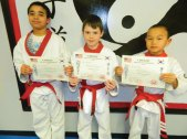 Evan Lin, Isaiah Shea and Robert Enquist were promoted Feb. 27 to the rank of Apprentice Black Belt in Cheezic Tang Soo Do Karate. Each is a junior member of USA Martial Arts in Naugatuck and had to demonstrate skills in sparring, kicks, forms, board breaking, rolls and break falls.-CONTRIBUTED