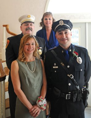 Naugatuck Fire Chief Ken Hanks, top left, City Hill Middle School language arts teacher Carolyn Laurentus, top right, Naugatuck Historical Society President Wendy Murphy, bottom left, and Naugatuck police Officer Americo Tavares were honored March 11 during the Naugatuck Exchange Club's 13th annual Community Champions Dinner at The Crystal Room. The Exchange Club recognized them as this year's firefighter of the year, educator of the year, citizen of the year and police officer of the year respectively. –LUKE MARSHALL
